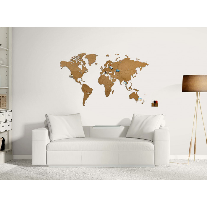 UNIDRAGON World Map Brown 50x30