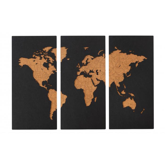Карта Мира черная без печати границ (Триптих)