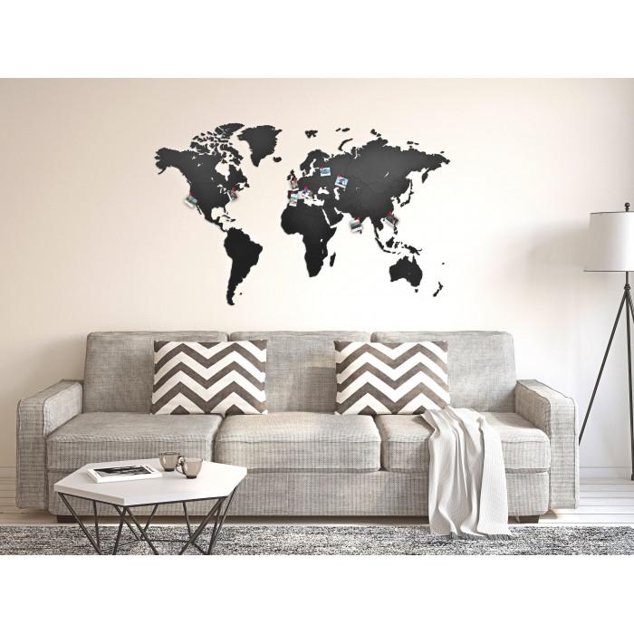 UNIDRAGON World Map Black 50x30
