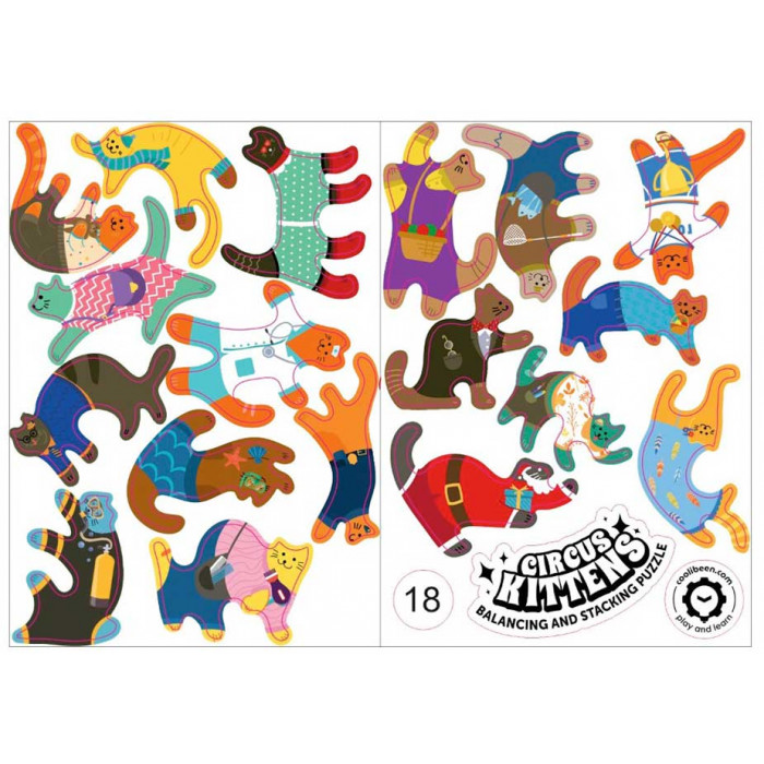 Комплект стикеров (наклеек) Цирковые котята