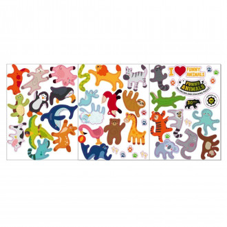 Комплект стикеров (наклеек) Веселые зверята